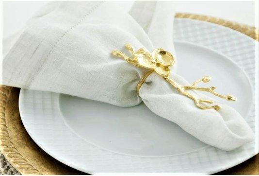 Anel para Guardanapo Luxo Flor Dourada