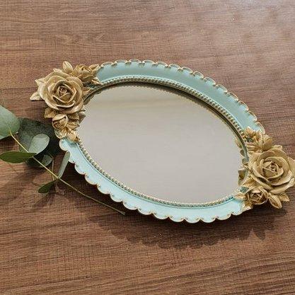 Bandeja de Resina Espelhada Oval Detalhe Flor