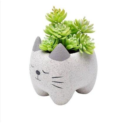 Cachepot Cat Cinza em Cerâmica