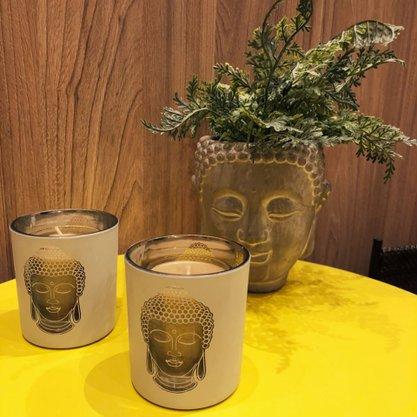 Castiçal Vidro Buddah Branco com Dourado