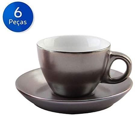 Cj de 6 Xicaras de Porcelana p/ Café Metalizada