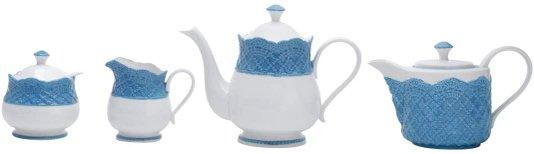 CJ de Porcelana Para Chá Givemy Azul