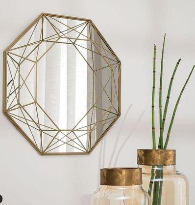 Espelho Dourado em Metal
