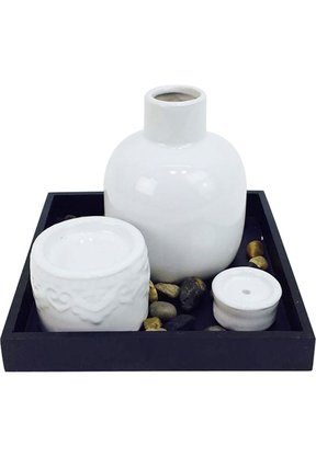 Jogo 4 PCS cerâmica Zen Garden Stone