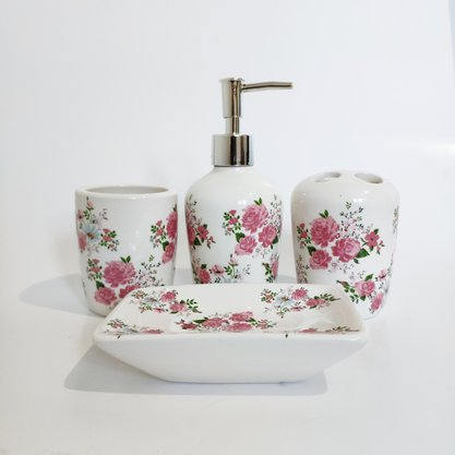 Jogo de Banheiro em Cerâmica 4 PCS Floral Rosa
