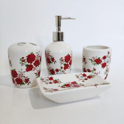 Jogo para Banheiro em Porcelana Floral Vermelho