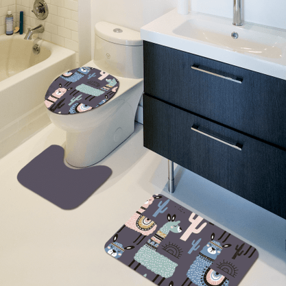 Kit 3 tapetes Banheiro Lhamas Antiderrapante