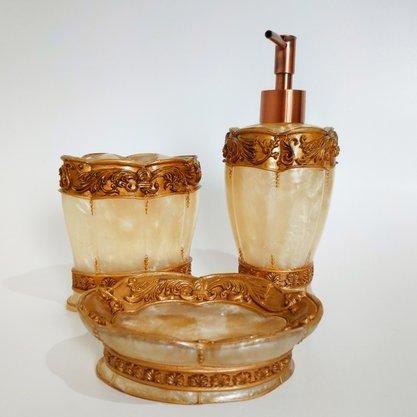Kit para Banheiro 3 peças Luxo Gold