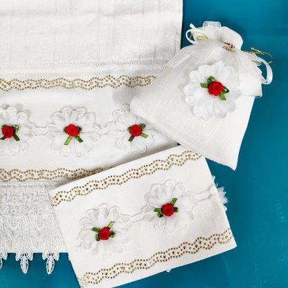 Kit para Lavabo/Banheiro com 3 Itens- Floral