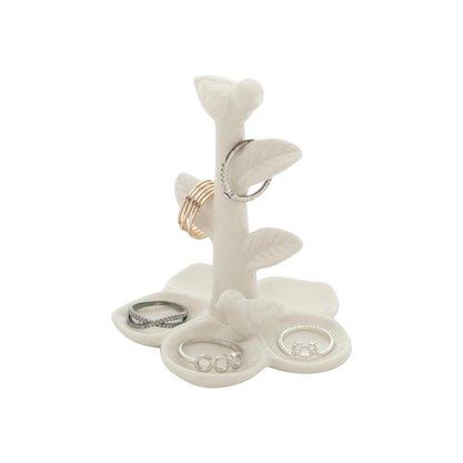 Porta Anel Flowers And Bird em Cerâmica