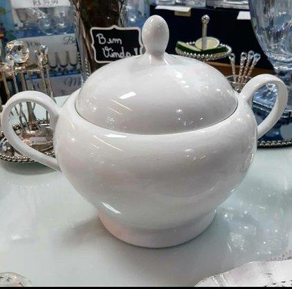 Sopeira Lisa Branca de Porcelana Bon Gourmet
