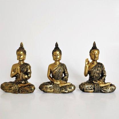 Trio de Buda Cor Ouro