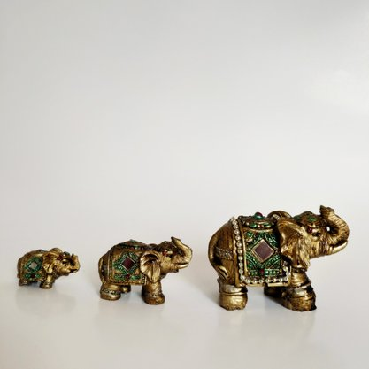 Trio de Elefantes Dourado