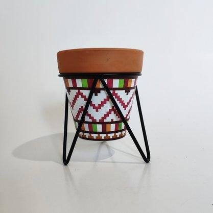 Vaso Decorativo Cerâmica com Suporte de Ferro