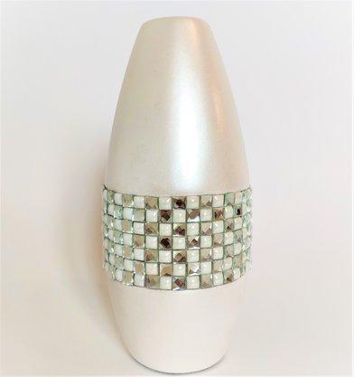 Vaso Silver Pérola com Pedras